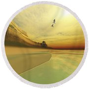 Seagulls Fly Near The Mountains Of This Round Beach Towel by Corey Ford