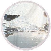 Seagulls In A Shimmer Round Beach Towel