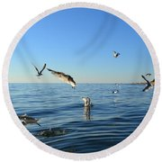 Seagulls Over Lake Michigan Round Beach Towel