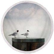 Seagulls Round Beach Towel by Priska Wettstein