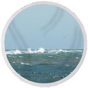 Seagulls Surf And Sandbar Round Beach Towel