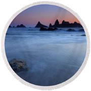Seal Rock Dusk Round Beach Towel