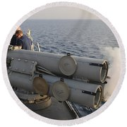 Seamen Fire An Air Slug From A Mk-32 Round Beach Towel