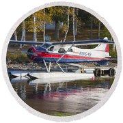 Seaplane On Moosehead Lake In Maine Canvas Photo Poster Print Round Beach Towel