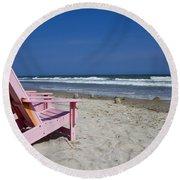 Seas The Chair  Round Beach Towel