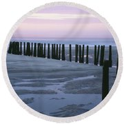 Seascape At Dusk With Pillars In Round Beach Towel