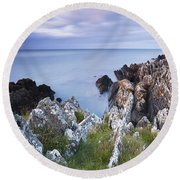 Seascape From Coast Of Clogherhead Round Beach Towel
