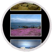 Seascape Triptych Round Beach Towel