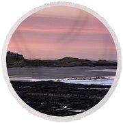 Seashore At Sunset, Northumberland Round Beach Towel