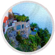 Seaside Villa Amalfi Round Beach Towel