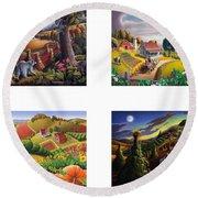 seasonal farm country folk art-set of 4 farms prints amricana American Americana print series Round Beach Towel