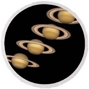 Seasons On Saturn Round Beach Towel