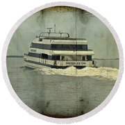 Seastreak Catamaran - Ferry From Atlantic Highlands To Nyc Round Beach Towel