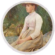 Seated Lady Round Beach Towel