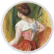 Seated Young Woman Round Beach Towel by Pierre Auguste Renoir