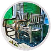 Seating For Two Round Beach Towel