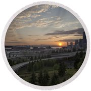 Seattle Arrival Sunset Round Beach Towel
