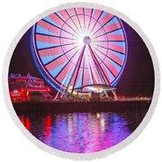 Seattle Great Wheel 2 Round Beach Towel