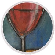 Second Glass Of Red Round Beach Towel by Tim Nyberg