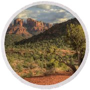 Sedona Red Rock Viewpoint Round Beach Towel