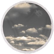 Selenium Clouds Round Beach Towel