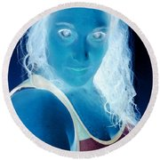 Self Portrait Front And Center Round Beach Towel