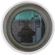 Self Portrait In A Circular Glass On The Wall Round Beach Towel