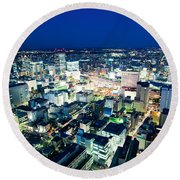 Sendai Train Station By Night Round Beach Towel