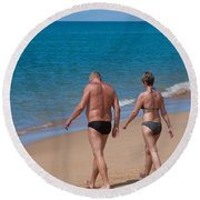 Senior Elderly  Lover Couple Round Beach Towel