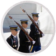 Sentinels At The Tomb Round Beach Towel