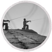 Sentinels - Fishing In The Fog Round Beach Towel