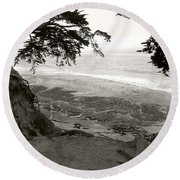 Sentinels View Of The Ocean Black And White Round Beach Towel