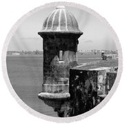Sentry Tower Castillo San Felipe Del Morro Fortress San Juan Puerto Rico Black And White Round Beach Towel