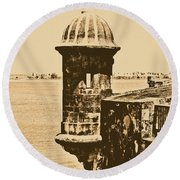 Sentry Tower Castillo San Felipe Del Morro Fortress San Juan Puerto Rico Rustic Round Beach Towel by Shawn O'Brien