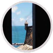 Sentry Tower View Castillo San Felipe Del Morro San Juan Puerto Rico Round Beach Towel