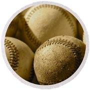 Sepia Baseballs Round Beach Towel