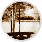 Sepia Picnic Table Lll Round Beach Towel