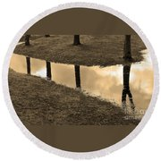 Sepia Silhouetted Reflections  Round Beach Towel