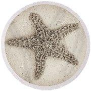 Sepia Starfish Round Beach Towel