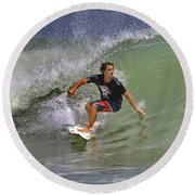 September Ponce Inlet Surfer Round Beach Towel
