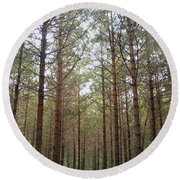 Serene Forest Round Beach Towel