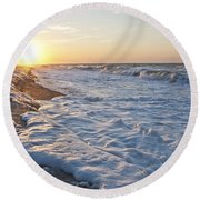 Serene Sunrise Round Beach Towel