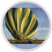 Serengeti Hot Air Baloon Inflating Round Beach Towel