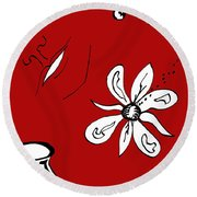 Serenity In Red Round Beach Towel