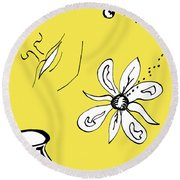 Serenity In Yellow Round Beach Towel