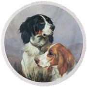Setters On A Moor Round Beach Towel by Colin Graeme