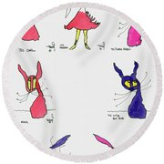 Seven Cartoons Round Beach Towel