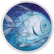 Seven Ichthus And A Heart Round Beach Towel by J Vincent Scarpace