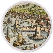 Seville: Departure, 1594. /ndeparture For The New World From Sanlucar De Barrameda, The Port Of Seville, Spain. Line Engraving, 1594, By Theodor De Bry Round Beach Towel