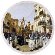 Seville: Good Friday, 1862 Round Beach Towel